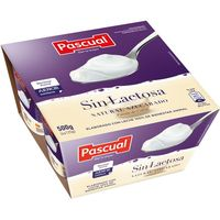 Yogur pasteurizado sin lactosa natural PASCUAL, pack 4x125 g