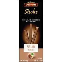 Sticks de turrón de chocolate con avellana DELAVIUDA, caja 120 g