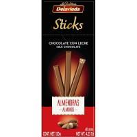 Sticks turrón chocolate con leche-almendra DELAVIUDA, caja 120 g