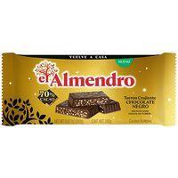Turrón crujiente de chocolate negro EL ALMENDRO, tableta 280 g
