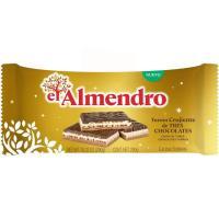 Turrón crujiente 3 chocolates EL ALMENDRO, tableta 290 g