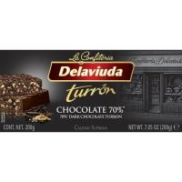 Turrón de chocolate intenso 70% DELAVIUDA, tableta 200 g