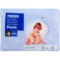 Pants canales absorbentes 16-22 kgTalla6 EROSKI paquete 36 uds.