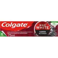 Dentífrico carbón COLGATE Max White, tubo 75 ml