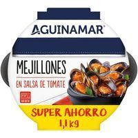 Mejillón en salsa de tomate AGUINAMAR, bandeja 1,1 kg