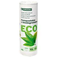 Bolsa de basura 10 l. biodegradable-comp. EROSKI, paquete 15 uds