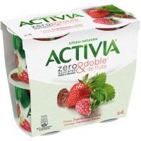 Activia zero de fresa-rambuesa-dátil DANONE, pack 4x115 g