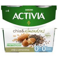 Activia 0% fibras con chía-almendra DANONE, pack 4x120 g