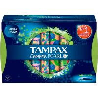 Tampón Compak Pearls super TAMPAX, caja 36 uds.