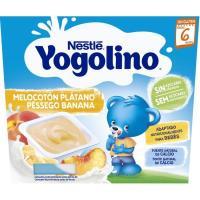 Yogolino sin azúcar de melocotón-plátano NESTLÉ, pack 4x100 g