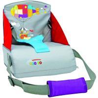 Trona de viaje color gris, plegable, con bolsillo y arnés de seguridad. Textil de alta densidad, altura respaldo 25cm,  convierte cualquier silla de adulto en trona. Fácil transporte y montaje. Para niños que se mantengan solos hasta 15 kg  ASALVO