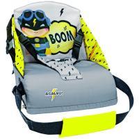 Trona de viaje color amarilla, plegable, con bolsillo y arnés de seguridad. Textil de alta densidad, altura respaldo 25cm,  convierte cualquier silla de adulto en trona. Fácil transporte y montaje. Para niños que se mantengan solos hasta 15kg ASALVO