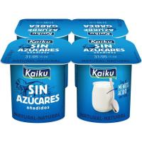 Yogur natural sin azúcares añadidos KAIKU, pack 4x115 g