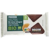 Tortitas de arroz-choco negro-naranja EROSKI BIO, paquete 90 g