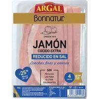 Jamón cocido extra reducido en sal ARGAL Bonnatur, bandeja 100 g