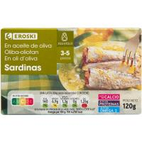 Sardina en aceite de oliva 3/5 piezas EROSKI, lata 120 g