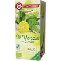Té verde bio con limon POMPADUR, caja 18 bolsitas