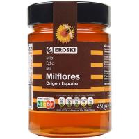Miel milflores nacional EROSKI, frasco 450 g