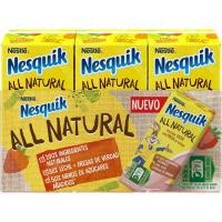Batido de fresa all natural NESQUIK, pack 3x180 ml
