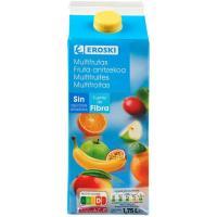Bebida multifrutas sin azúcar EROSKI, brik 1,75 litros