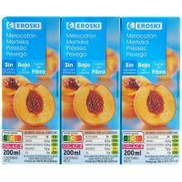 Bebida de melocotón sin azúcar añadido EROSKI, pack 6x20 cl