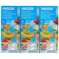 Bebida multifrutas sin azúcar añadido EROSKI, pack 6x20 cl