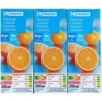 Bebida de naranja sin azúcar añadido EROSKI, pack 6x20 cl