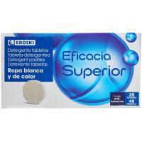 Detergente en polvo en tabletas EROSKI, caja 20 dosis