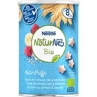 Snack de cereales-frambuesa bio NESTLÉ Nutripuffs, bote 35 g