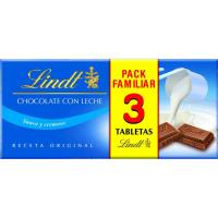 Chocolate con leche LINDT, pack 3x110 g
