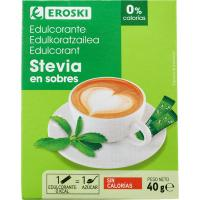 Edulcorante stevia EROSKI, caja 40 uds.