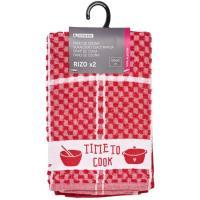 Paños de cocina rojo rizo 100% algodón EROSKI, 50x50cm 2 uds