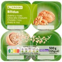 Yogur bífidus con avena-nuez EROSKI, pack 4x125 g