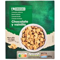 Cereales rellenos de chocolate-vainilla EROSKI, caja 500 g