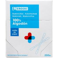 Bastoncillos de papel EROSKI, caja 200 uds