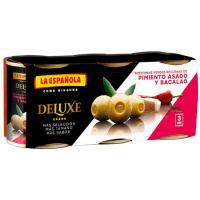 Aceitunas mini con pimiento-bacalao LA ESPAÑOLA, pack 3x50 g