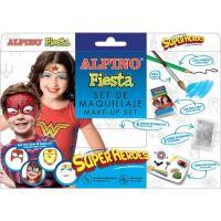 Set maquillaje Superheroes: 6barras,lápiz,pincel,purpurina,pegatinas ALPINO, 1ud