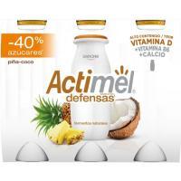 Actimel menos azúcar de piña-coco DANONE, pack 6x100 g
