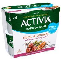 Activia zero azúcar añadi. avellana-semilla DANONE, pack 4x115 g