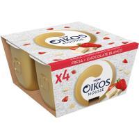 Mousse de fresa-chocolate blanco OIKOS, pack 4x55 g