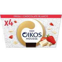 Mousse de fresa-chocolate blanco OIKOS, pack 4x55 g