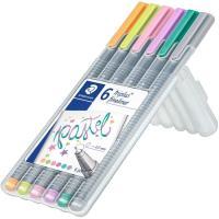 Rotuladores de punta fina, colores pastel surtidos Fineliner STAEDTLER, Pack 6 uds
