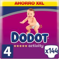 Pañal 9-14 kg Talla 4 Box XXL DODOT Activity, caja 144 uds