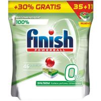 Lavavajillas eco 0% FINISH, bolsa 35+11 dosis