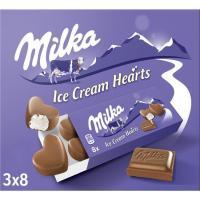 Helado de crema tipo bomboncitos small hearts MILKA, caja 162 g