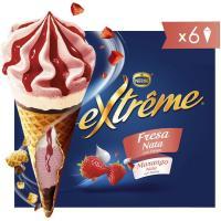 Cono de fresa-nata EXTREME, 6 uds., caja 432 g