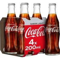 Refresco de cola light COCA COLA, pack 4x20 cl