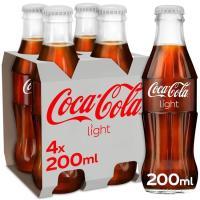 Refresco de cola light COCA COLA, pack 4x20 cl
