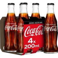 Refresco de cola zero COCA COLA, pack 4x20 cl