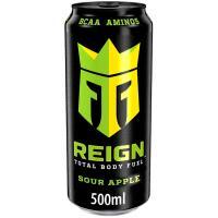 Bebida deportiva con BCAA sabor manzana REIGN, 50 cl.